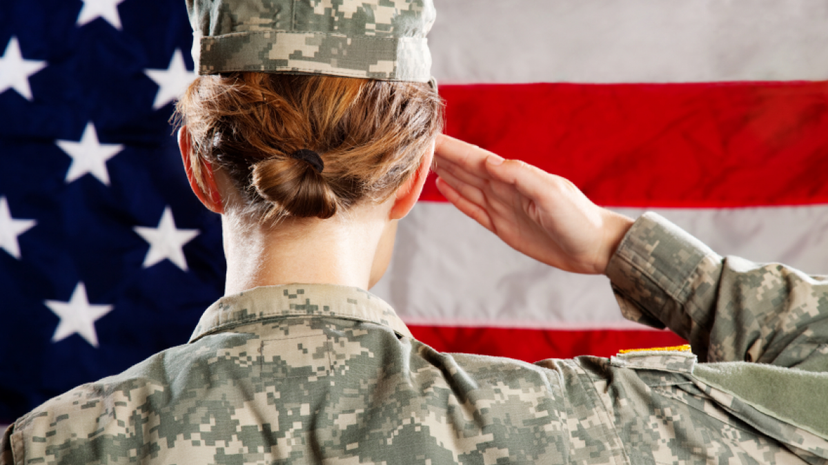 Soldier salutes American flag